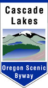 The Cascade Lakes Scenic Byway roadsign