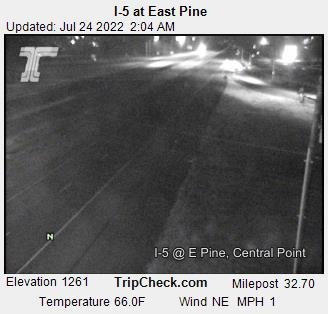I-5 at East Pine Street, Central Point.  Elevation 1500 ft, Milepost 32.7. Courtesy ODOT.