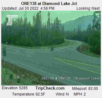 Oregon 138 / Oregon 230 near Diamond Lake. Camera is occasionally down; be sure to check date and time on the picture to be certain  it is up-to-date. Courtesy Oregon Department of Transportation.