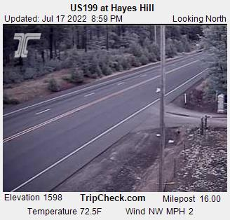 Redwood Highway 199 Hayes Hill Summit.  Camera is occasionally down; be sure to check date and time on the picture to be certain  it is up-to-date. Courtesy Oregon Department of Transportation.