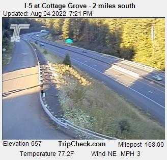 I-5 at Ward's Butte, south of Cottage Grove, just south of  Lane-Douglas county line. Courtesy ODOT.
