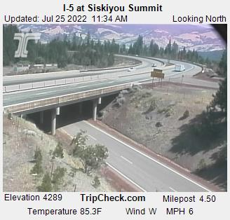 Interstate 5 at Siskiyou Summit, elevation 4310 feet.  Camera is occaisionally down; be sure to check date and time on the picture to be certain  it is up-to-date. Courtesy Oregon Department of Transportation.