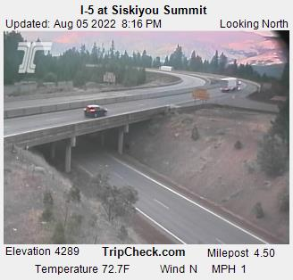 Interstate 5 at Siskiyou Summit, elevation 4310 feet, between Ashland Oregon and Yreka California.  Courtesy Oregon Department of Transportation.