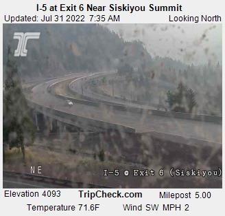 RoadCam - I-5 at Exit 6 Near Siskiyou Summit