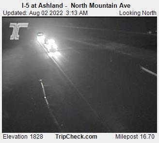 I-5 at Mountain Avenue, Milepost 16.7, elevation 1830 feet.  Courtesy Oregon Department of Transportation.