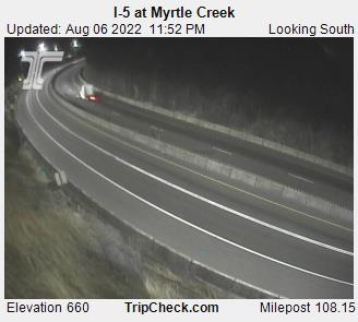 I-5 at Myrtle Creek, view south. Courtesy ODOT.