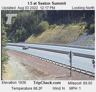 I-5 at Sexton Mountain Pass, view north. Courtesy ODOT.