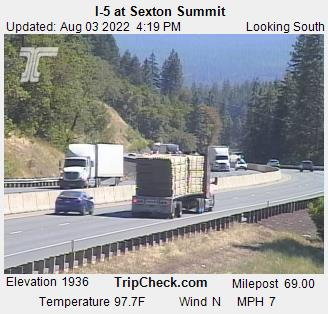 I-5 at Milepost 69, Sexton Mountain Pass, view south. Courtesy ODOT.