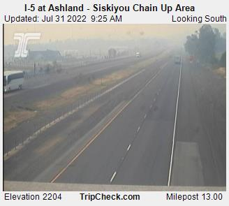 Southbound Interstate 5 Ashland at Siskiyou Summit chain-up area, elevation 2080 feet.  Courtesy Oregon Department of Transportation.