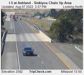 Northbound Interstate 5 Ashland at Siskiyou Summit chain-up area, elevation 2080 feet.  Courtesy Oregon Department of Transportation.