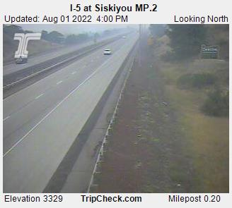 Interstate 5 at California Oregon border, elevation 3335 feet, between Yreka and Ashland.  Courtesy Oregon Department of Transportation.