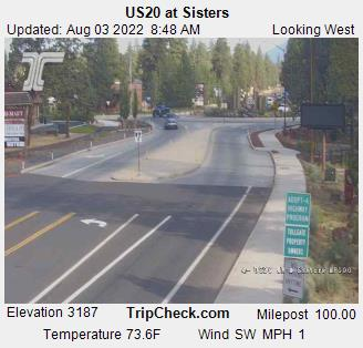 Looking NW up Hwy. US-20 at Sisters. Elevation 3222. Click for Central Oregon weather and driving conditions.