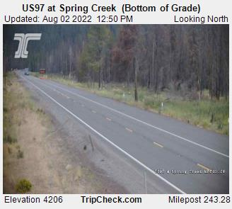 RoadCam - US97 at Spring Creek  (Bottom of Grade)