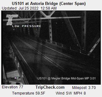 Hwy 101 at the Columbia River, Astoria. Courtesy ODOT.