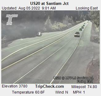 Looking East at Santiam Junction - Hwy 20. Elevation 3839. Click for Central Oregon weather and driving conditions.