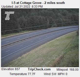 RoadCam - I-5 at Cottage Grove - 2 miles south