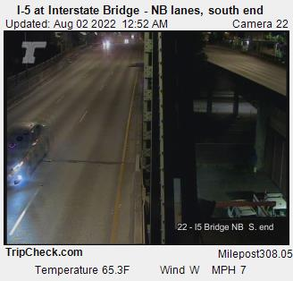 RoadCam - I-5 at Interstate bridge, N/B lanes, south end